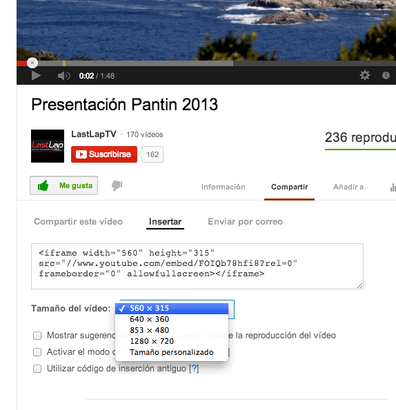 Compartiir Video YouTube -Insertar