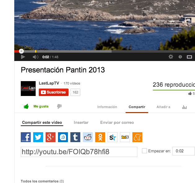 Insertar video de YouTube- Compartir