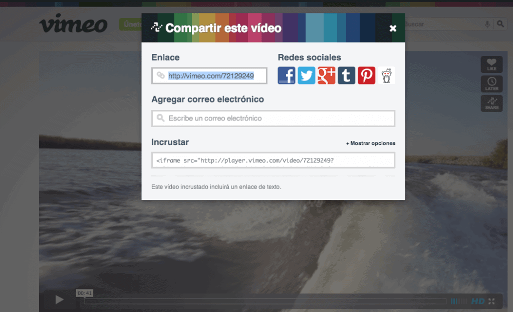 Compartir video de Vimeo