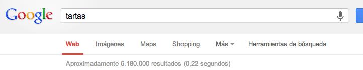 Resultados para tartas en Google
