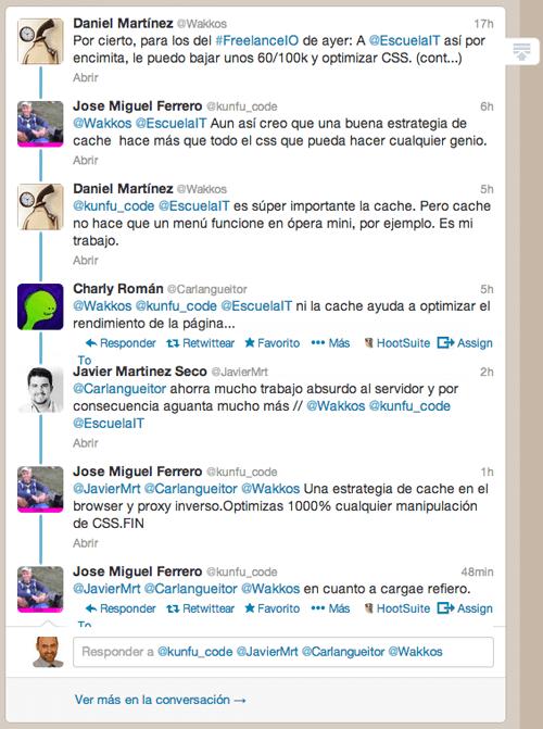 Ejemplo de la nueva vista de conversaciones agrupadas de Twitter expandida