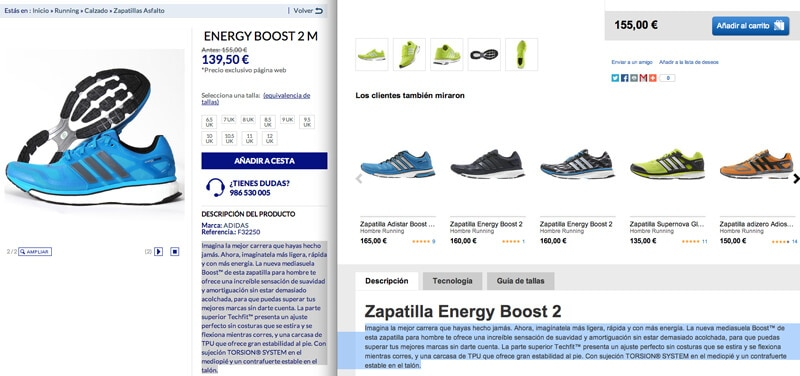 Las descripciones originales en tus productos ayudarán a que las fichas de producto se posicionen mejor