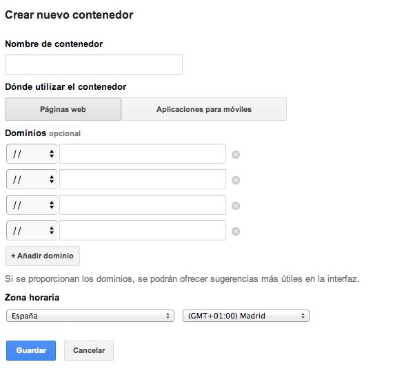 Google Tag Manager permite filtrar los contenedores por dominios