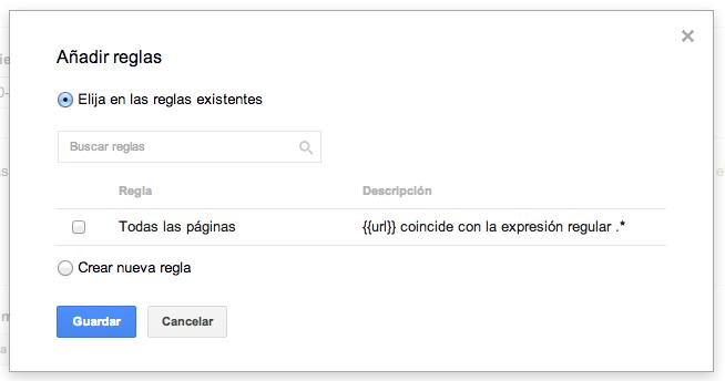"""Regla de Google Tag Manager para """"Todas las Páginas"""""""