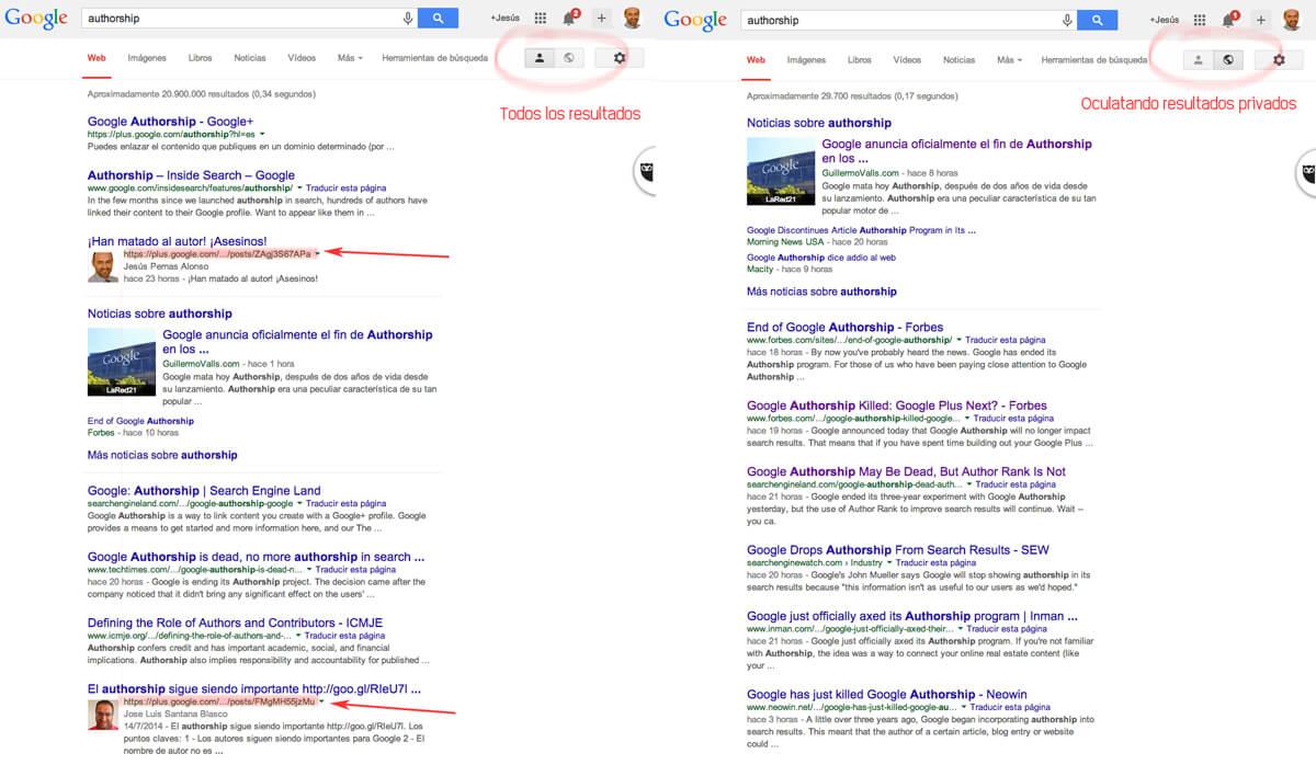 Las publicaciones en Google+ solamente se muestran en resultados privados